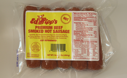 Ed Hipp's Premium Beef Smoked Hot Sausage